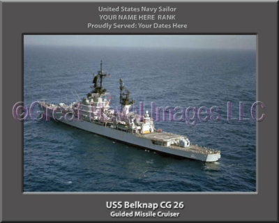 USS Belknap CG 26 Personalized Navy Ship Photo Printed on Canvas