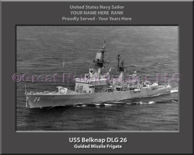 USS Belknap DLG 26 Personalized Ship Photo on Canvas