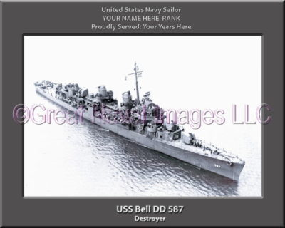 USS Bell DD 587 Personalized ship Photo