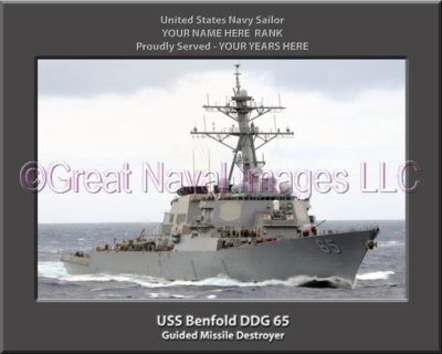 USS Benfold DDG 65 Personalized ship Photo