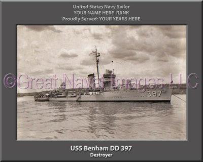 USS Benham DD 397 Personalized Navy Ship Photo