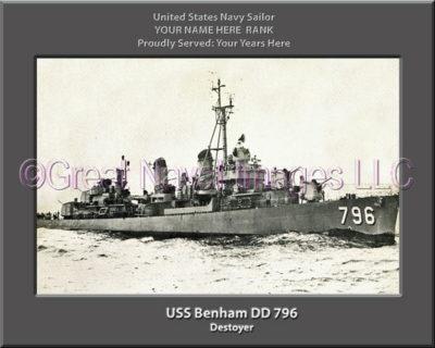 USS Benham DD 796 Personalized ship Photo