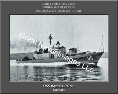 USS Benicia PG 96 Personalized and Printed on Canvas