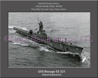 USS Besugo SS 321 Personalized Photo on Canvas