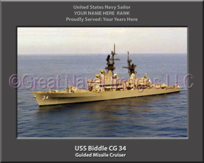 USS Biddle CG 34 Personalized Navy Ship Photo Printed on Canvas
