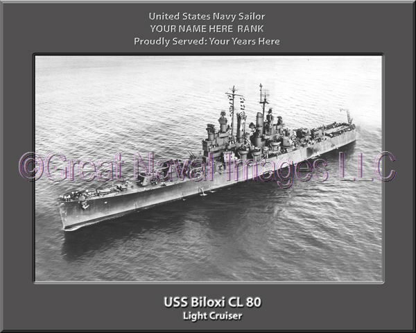 USS Biloxi CL 80 Personalized Navy Ship Photo Printed on Canvas
