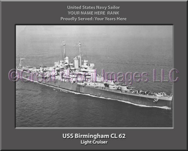 USS Birmingham CL 62 Personalized Navy Ship Photo Printed on Canvas