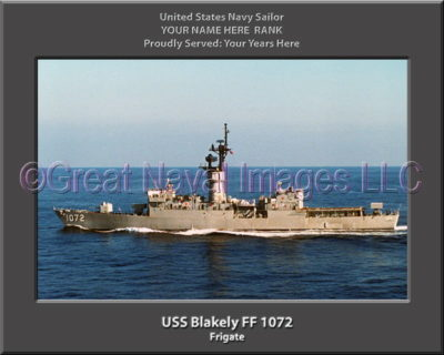 USS Blakely FF 1072 Personalized Ship Photo on Canvas