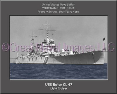 USS Boise CL 47 Personalized Navy Ship Photo Printed on Canvas