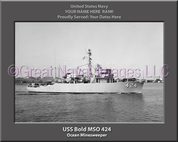 USS Bold MSO 424 Personalized and Printed on Canvas