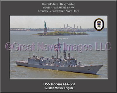 USS Boone FFG 28 Personalized Ship Photo on Canvas