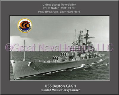 USS Boston CAG 1 Personalized Navy Ship Photo Printed on Canvas