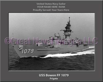 USS Bowen FF 1079 Personalized Ship Photo on Canvas