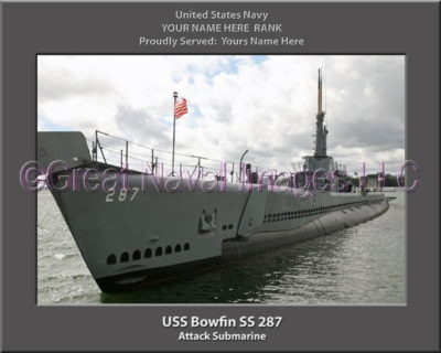 USS Bowfin SS 287 Personalized Photo on Canvas