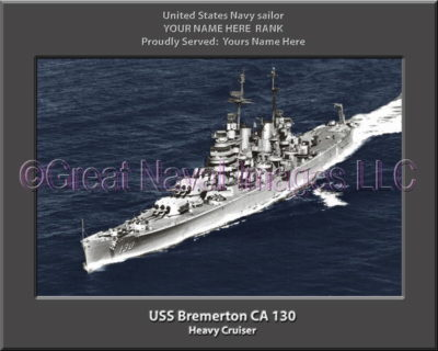 USS Bremerton CA 130 Personalized Navy Ship Photo Printed on Canvas