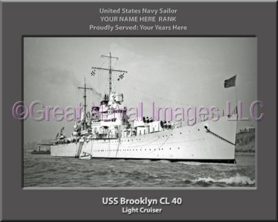 USS Brooklyn CL 40 Personalized Navy Ship Photo Printed on Canvas