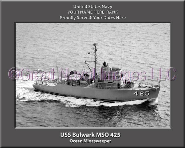 USS Bu Personalized anlwark MSO 425d Printed on Canvas