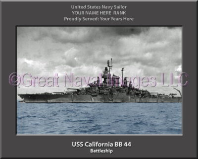 USS California BB 44 Personalized Photo on Canvas