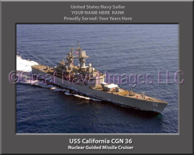 USS California CGN 36 Personalized Navy Ship Photo Printed on Canvas
