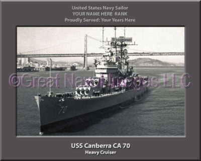 USS Canberra CA 70 Personalized Navy Ship Photo Printed on Canvas