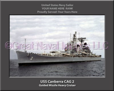 USS Canberra CAG 2 Personalized Navy Ship Photo Printed on Canvas