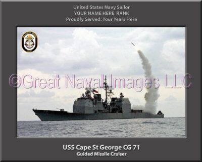 USS Cape St George CG 71 Personalized Navy Ship Photo Printed on Canvas