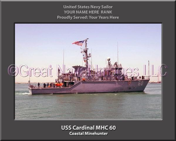 USS Cardinal MHC 60 Personalized and Printed on Canvas