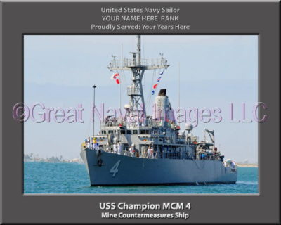 USS Champion MCM 4 Personalized and Printed on Canvas