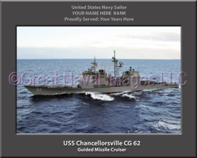 USS Chancellorsville CG 62 Personalized Navy Ship Photo Printed on Canvas