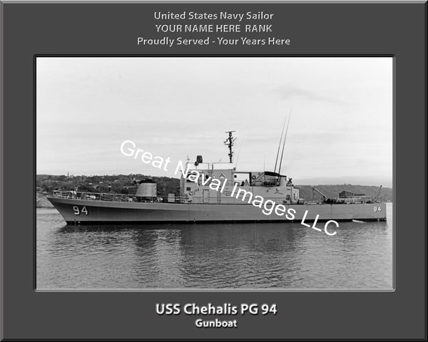 USS Chehalis PG 94 Personalized and Printed on Canvas