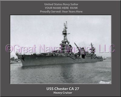 USS Chester CA 27 Personalized Navy Ship Photo Printed on Canvas
