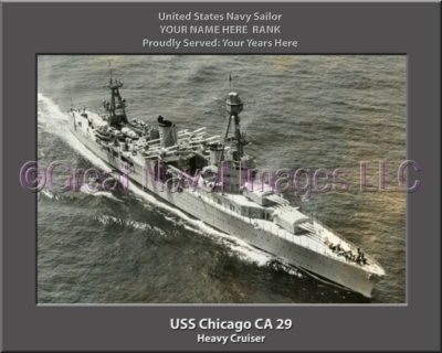 USS Chicago CA 29 Personalized Navy Ship Photo Printed on Canvas
