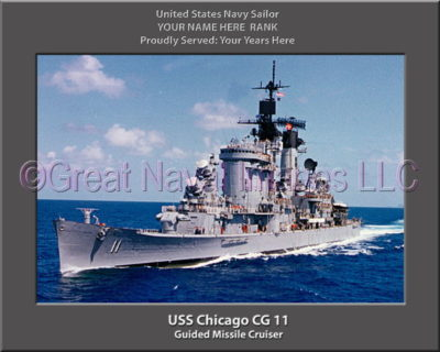 USS Chicago CG 11 Personalized Navy Ship Photo Printed on Canvas