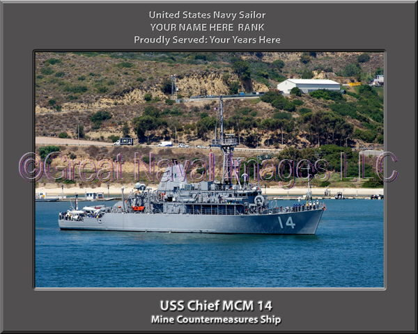USS Chief MCM 14 Personalized and Printed on Canvas