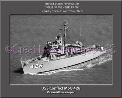 USS Conflict MSO 426 Personalized and Printed on Canvas
