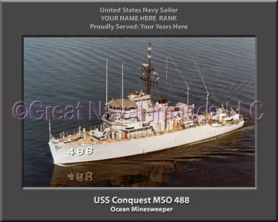 USS Conquest MSO 488 Personalized and Printed on Canvas