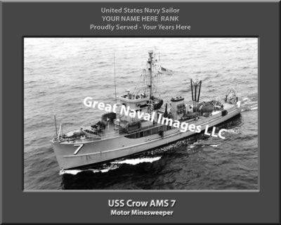 USS Crow AMS 7 Personalized and Printed on Canvas