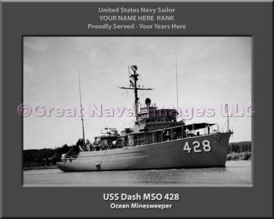 USS Dash MSO 428 Personalized Photo on Canvas