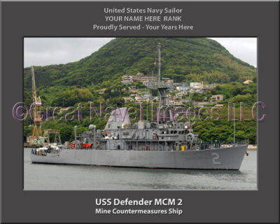 USS Defender MCM 2 Personalized Photo on Canvas