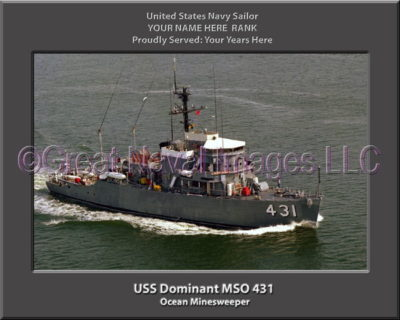USS Dominant MSO 431 Personalized Photo on Canvas