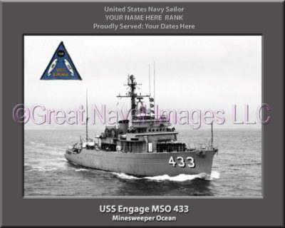 USS Engage MSO 433 Personalized Photo on Canvas