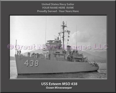 USS Esteem MSO 438 Personalized Photo on Canvas