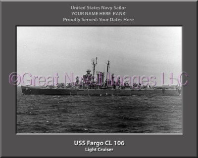 USS Fargo CL 106 Personalized Navy Ship Photo Printed on Canvas