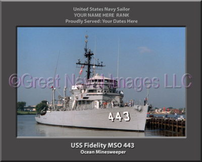 USS Fidelity MSO 443 Personalized Photo on Canvas