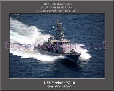 USS Firebolt PC 10 Personalized Photo on Canvas