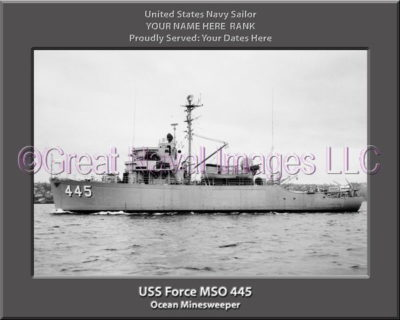 USS Force MSO 445 Personalized Photo on Canvas