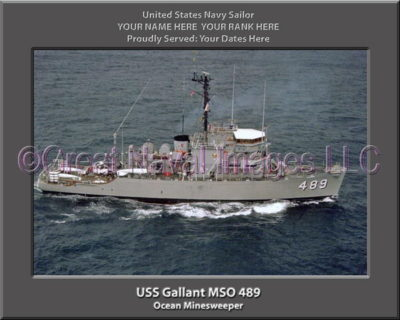 USS Gallant MSO 489 Personalized Photo on Canvas