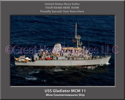 USS Gladiator MCM 11 Personalized Photo on Canvas