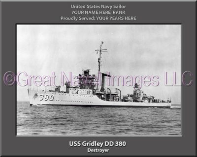 USS Gridley DD 380 Personalized Navy Ship Photo