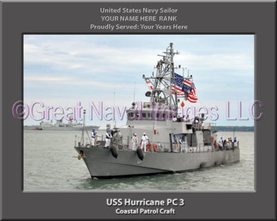 USS Hurricane PC 3 Personalized Photo on Canvas